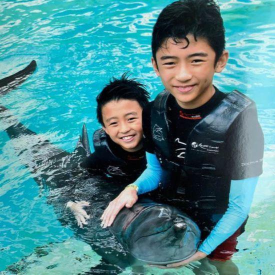 张柏芝晒俩儿子与海豚亲密合影照 帅气可爱