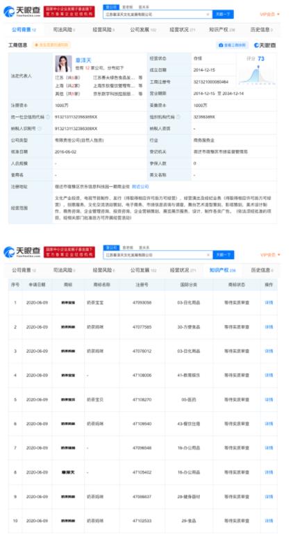 章泽天公司申请奶茶宝宝等商标 商标状态为等待实质审查